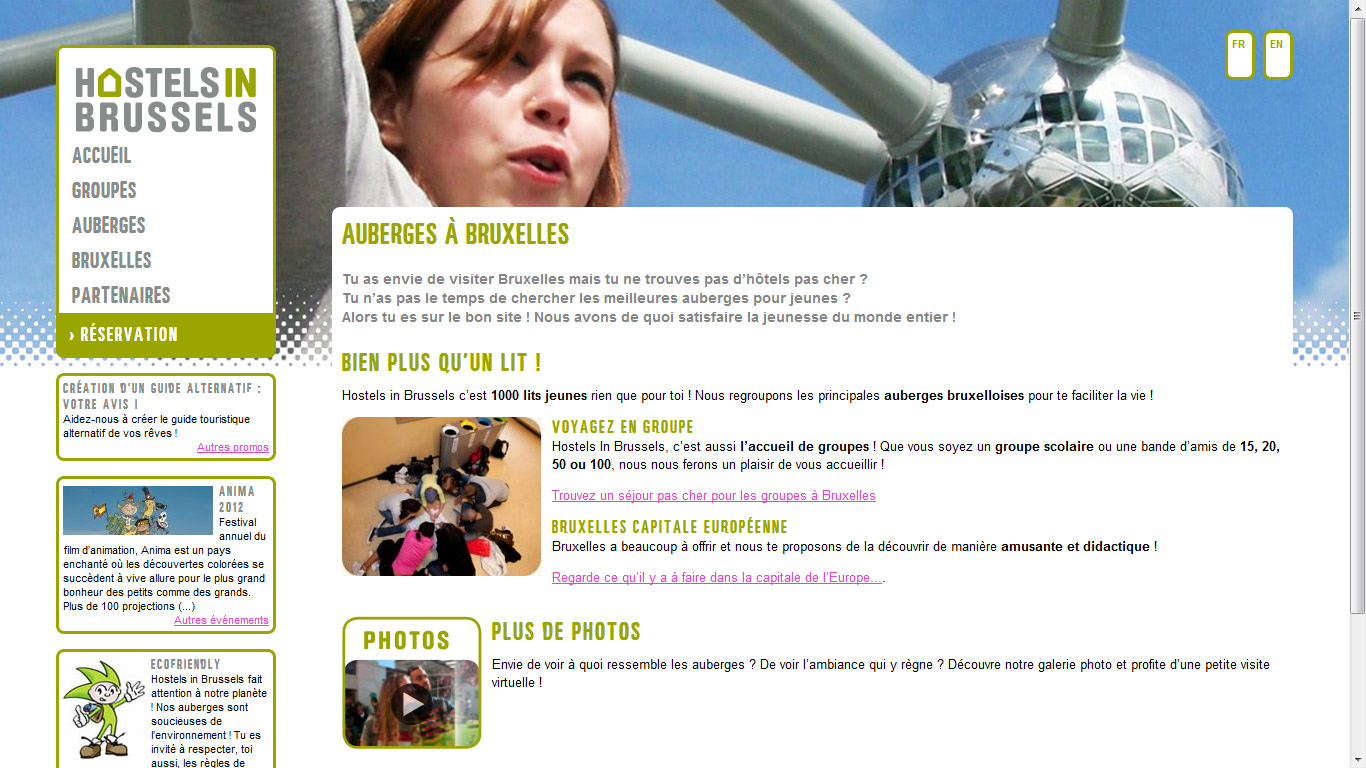 capture d écran du site Hostels in Brussels
