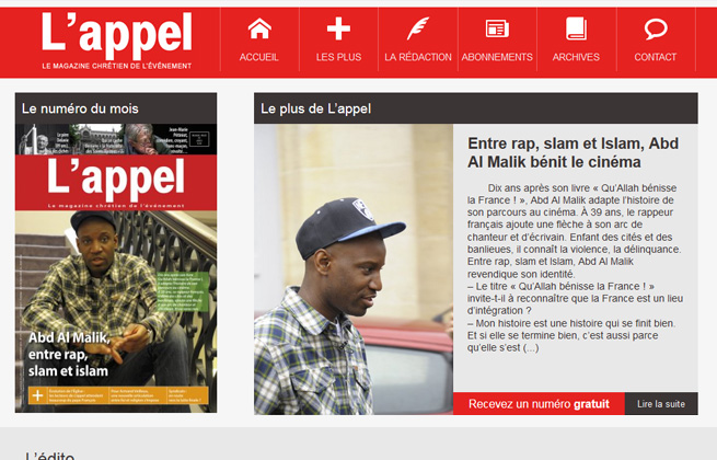 capture d écran du site Magazine l'Appel
